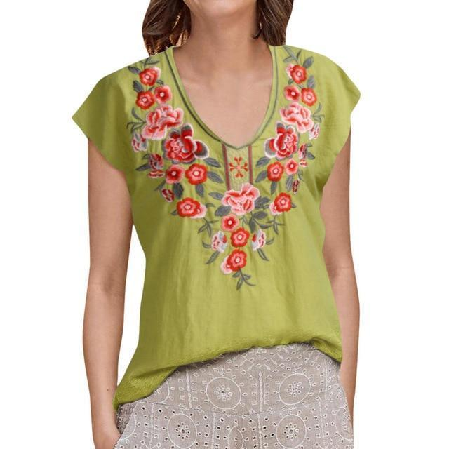 V Neck Rural Casual Holiday Summer Women Daily Tops AmericanGalore Green S