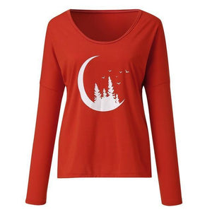 V Neck Twillight Women Casual Printed Shirt &Tops AmericanGalore Red S