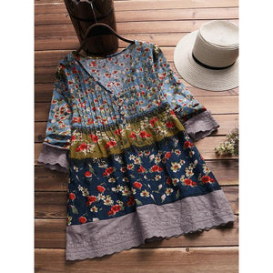 Vintage Floral Print Patchwork V-neck Blouses For Women AmericanGalore Navy Blue M