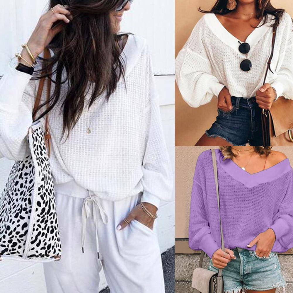 Women Casual Color Simple V-Neck Long Sleeve Blouse Tops AmericanGalore