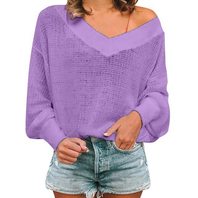 Women Casual Color Simple V-Neck Long Sleeve Blouse Tops AmericanGalore Purple S