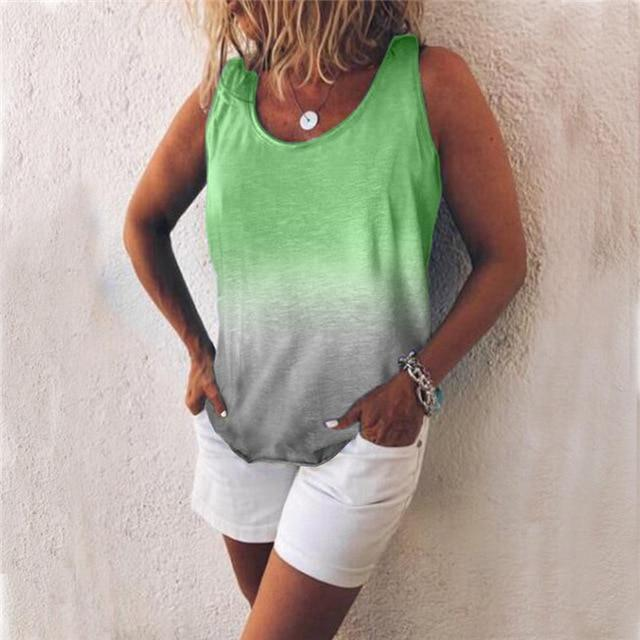Women Casual Gradient Print Color Sleeveless Vests Tops AmericanGalore Green S