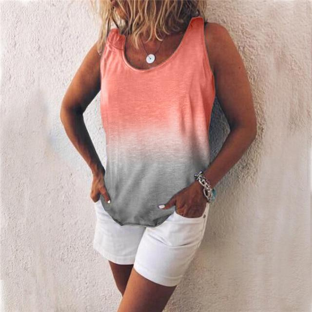 Women Casual Gradient Print Color Sleeveless Vests Tops AmericanGalore Pink S