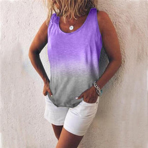 Women Casual Gradient Print Color Sleeveless Vests Tops AmericanGalore Purple S