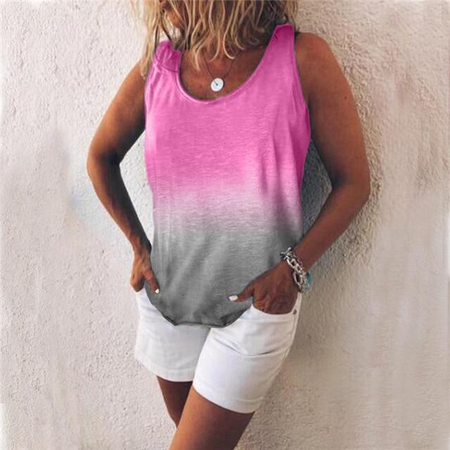Women Casual Gradient Print Color Sleeveless Vests Tops AmericanGalore Rose S