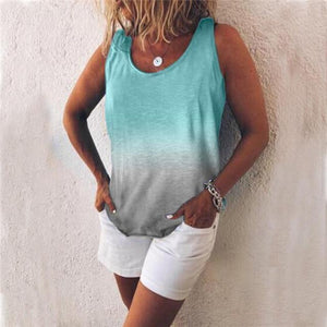 Women Casual Gradient Print Color Sleeveless Vests Tops AmericanGalore Sky Blue S