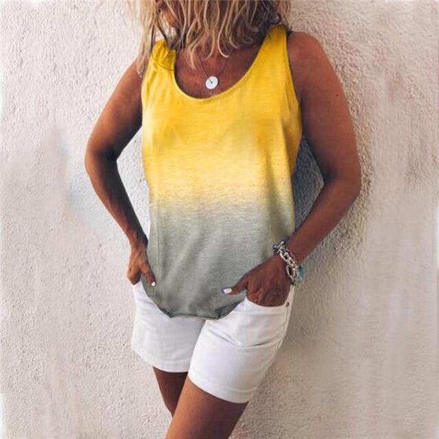 Women Casual Gradient Print Color Sleeveless Vests Tops AmericanGalore Yellow S