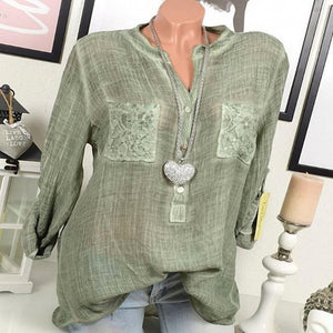 Women Casual Lace Patchwork Long Sleeve V-Neck Plus Size Blouses AmericanGalore Army Green S