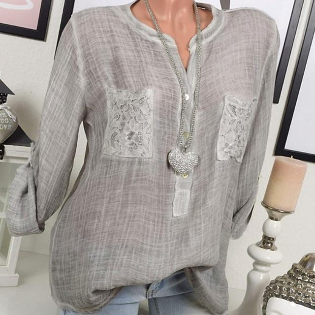 Women Casual Lace Patchwork Long Sleeve V-Neck Plus Size Blouses AmericanGalore Gray S