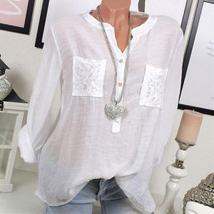 Women Casual Lace Patchwork Long Sleeve V-Neck Plus Size Blouses AmericanGalore White S
