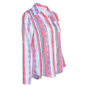 Women Casual Rainbow Striped Button Loose Blouse Tops AmericanGalore