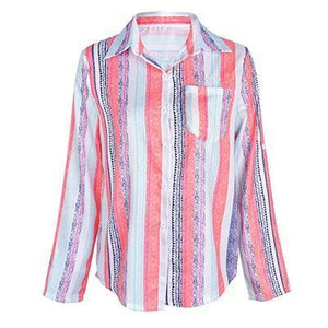 Women Casual Rainbow Striped Button Loose Blouse Tops AmericanGalore As Picture S