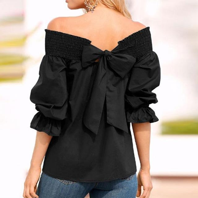Women Fashion One-Word Back Bow T-Shirt Plus Size Blouses Tops AmericanGalore Black S
