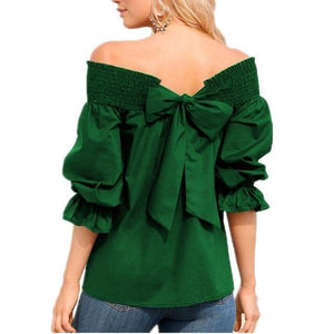 Women Fashion One-Word Back Bow T-Shirt Plus Size Blouses Tops AmericanGalore Green S