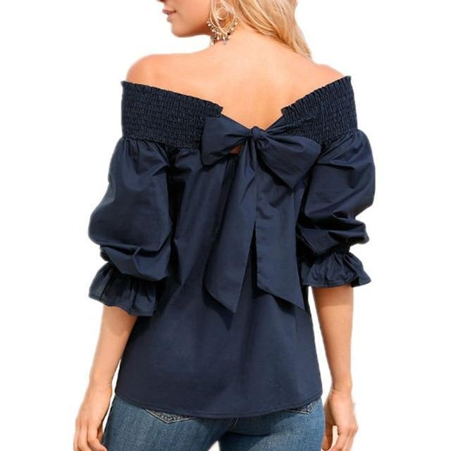 Women Fashion One-Word Back Bow T-Shirt Plus Size Blouses Tops AmericanGalore Navy Blue S