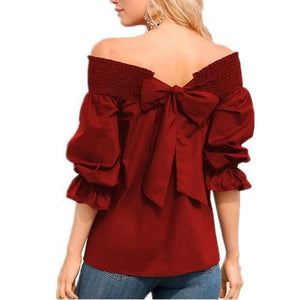 Women Fashion One-Word Back Bow T-Shirt Plus Size Blouses Tops AmericanGalore Wine Red S