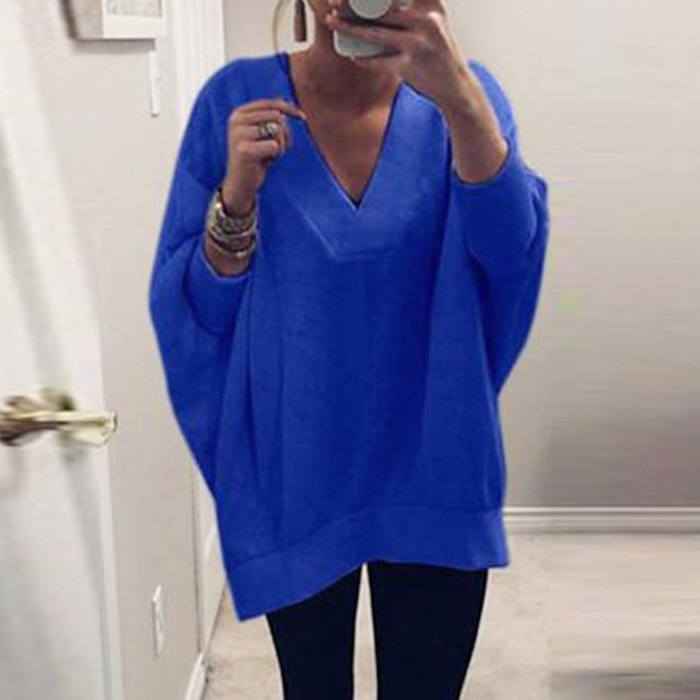 Women Knitted Pullover Sweater Tops V-neck Sweatshirt AmericanGalore Blue S