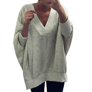 Women Knitted Pullover Sweater Tops V-neck Sweatshirt AmericanGalore Grey S