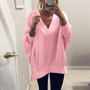 Women Knitted Pullover Sweater Tops V-neck Sweatshirt AmericanGalore Pink S