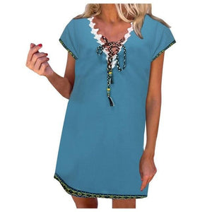 Women' s Bohemian Holiday Daytime Shift Mini Dress Tops AmericanGalore Blue S