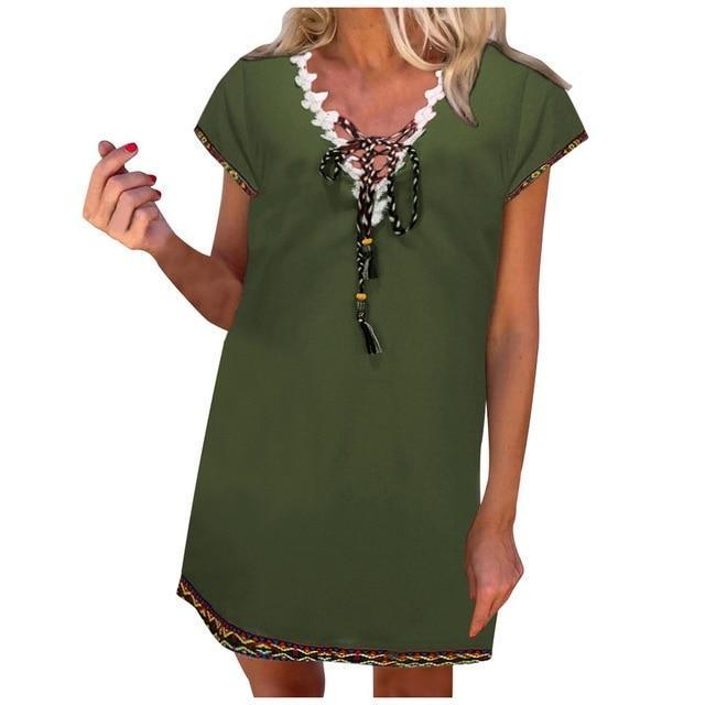 Women' s Bohemian Holiday Daytime Shift Mini Dress Tops AmericanGalore Green S