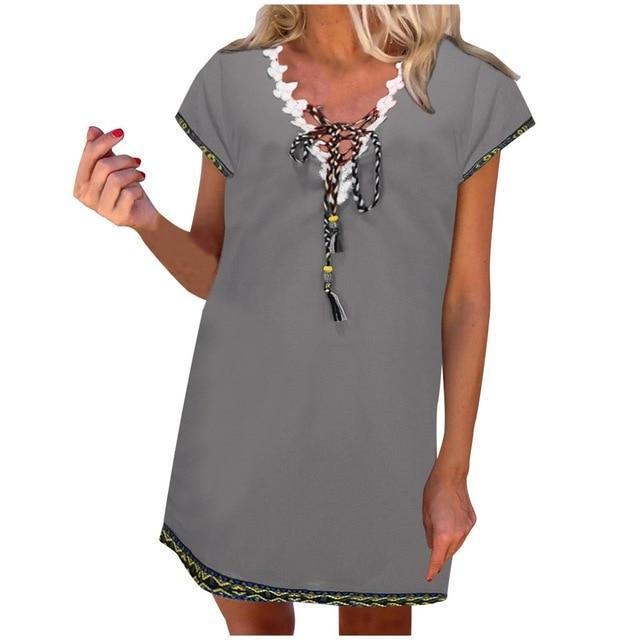 Women' s Bohemian Holiday Daytime Shift Mini Dress Tops AmericanGalore Grey S