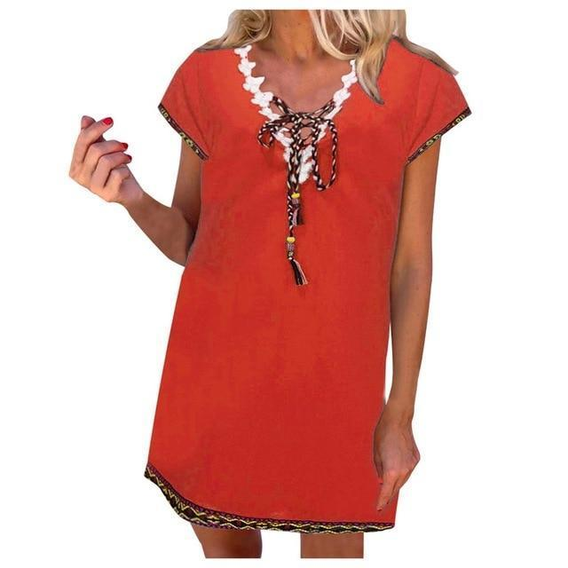 Women' s Bohemian Holiday Daytime Shift Mini Dress Tops AmericanGalore Orange S