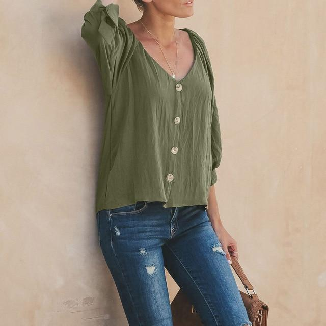Women Solid Color Shirts Plus Size Crew Neck Blouse AmericanGalore Green S