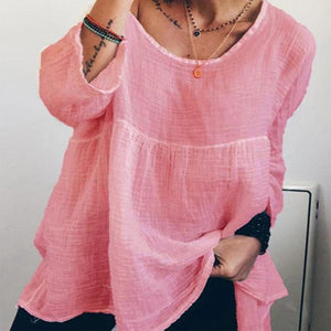 Women's Linen Crew Neck Solid Daily Shift Casual Tops AmericanGalore Pink S