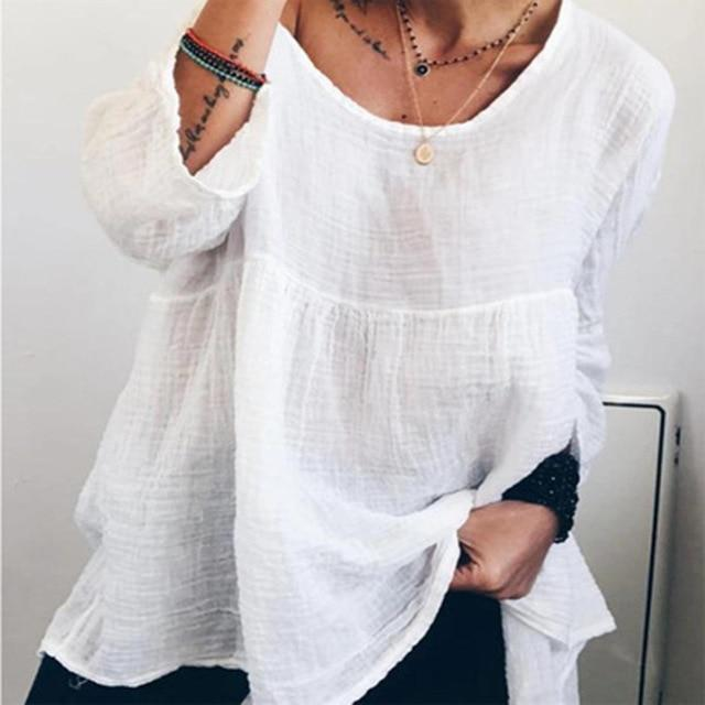 Women's Linen Crew Neck Solid Daily Shift Casual Tops AmericanGalore White S