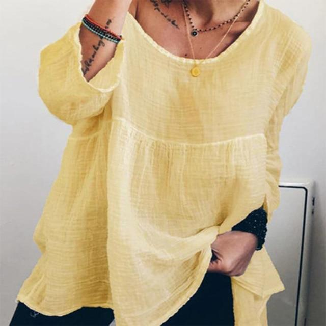 Women's Linen Crew Neck Solid Daily Shift Casual Tops AmericanGalore Yellow S