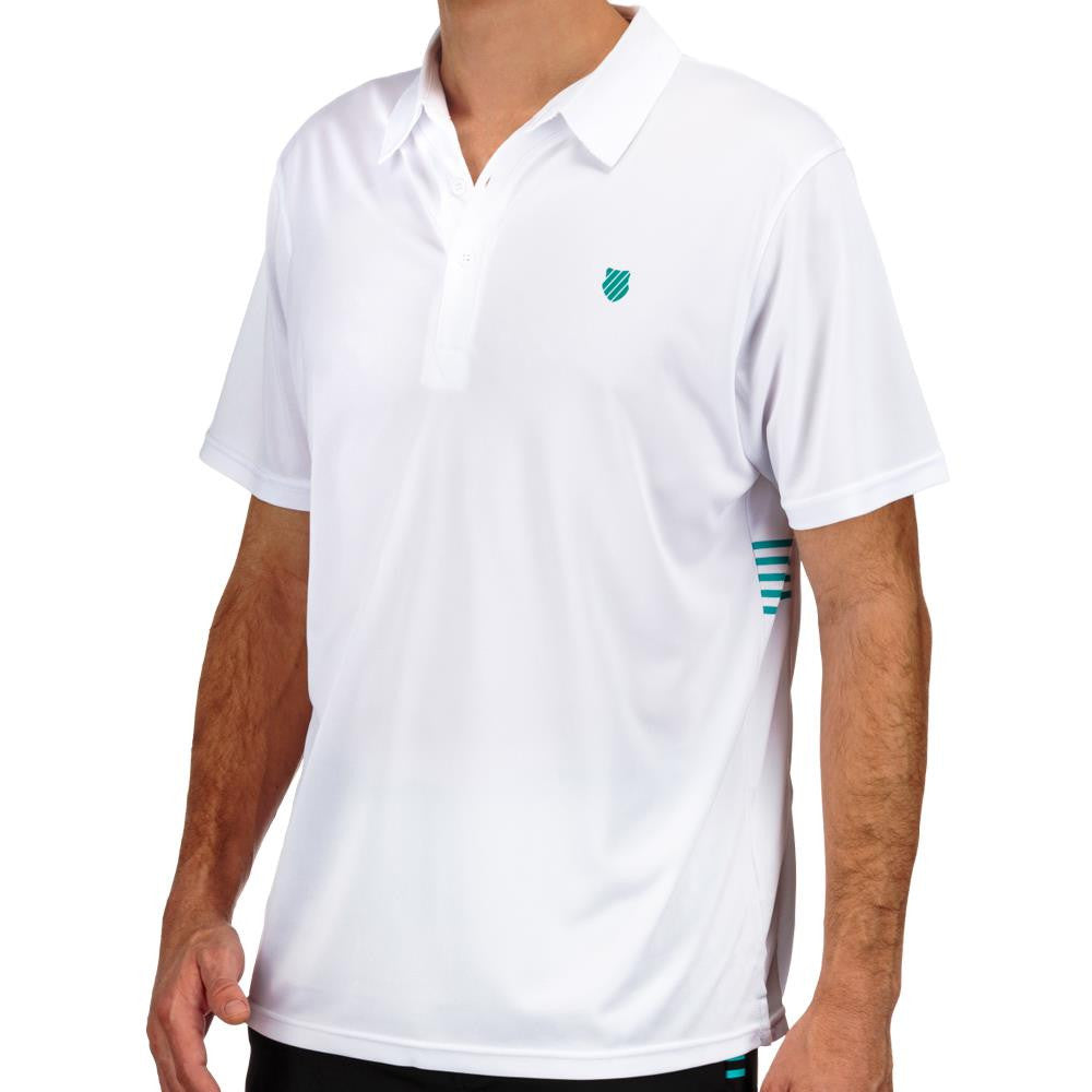KSwiss Men's BB Two Tone Oxford Polo White/Green