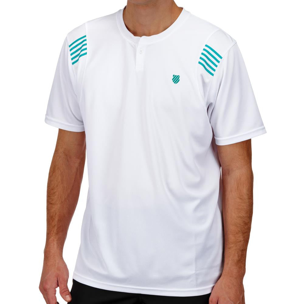 KSwiss Men's B2 Henley Crew White/Green