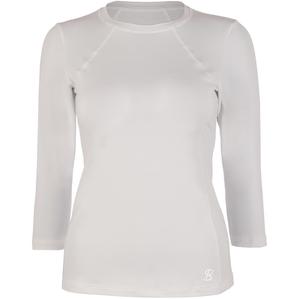 Sofibella Women's UV Staple Classic 3/4 Sleeve Top White