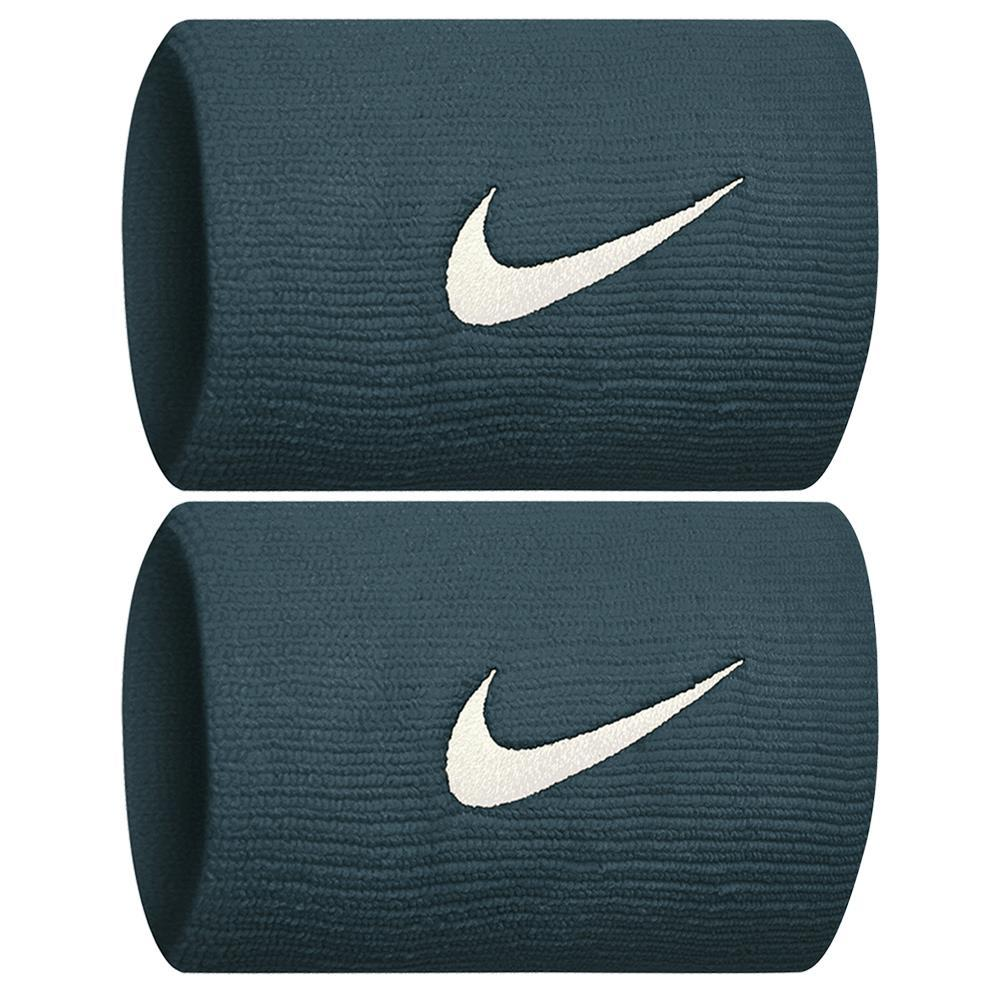 Nike Swoosh Doublewide DriFit Wirstbands 2.0 - Midnight Spruce/Guava