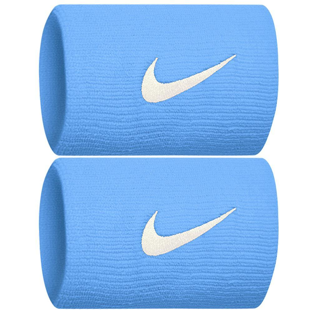Nike Swoosh Doublewide DriFit Wirstbands 2.0 - University Blue/White