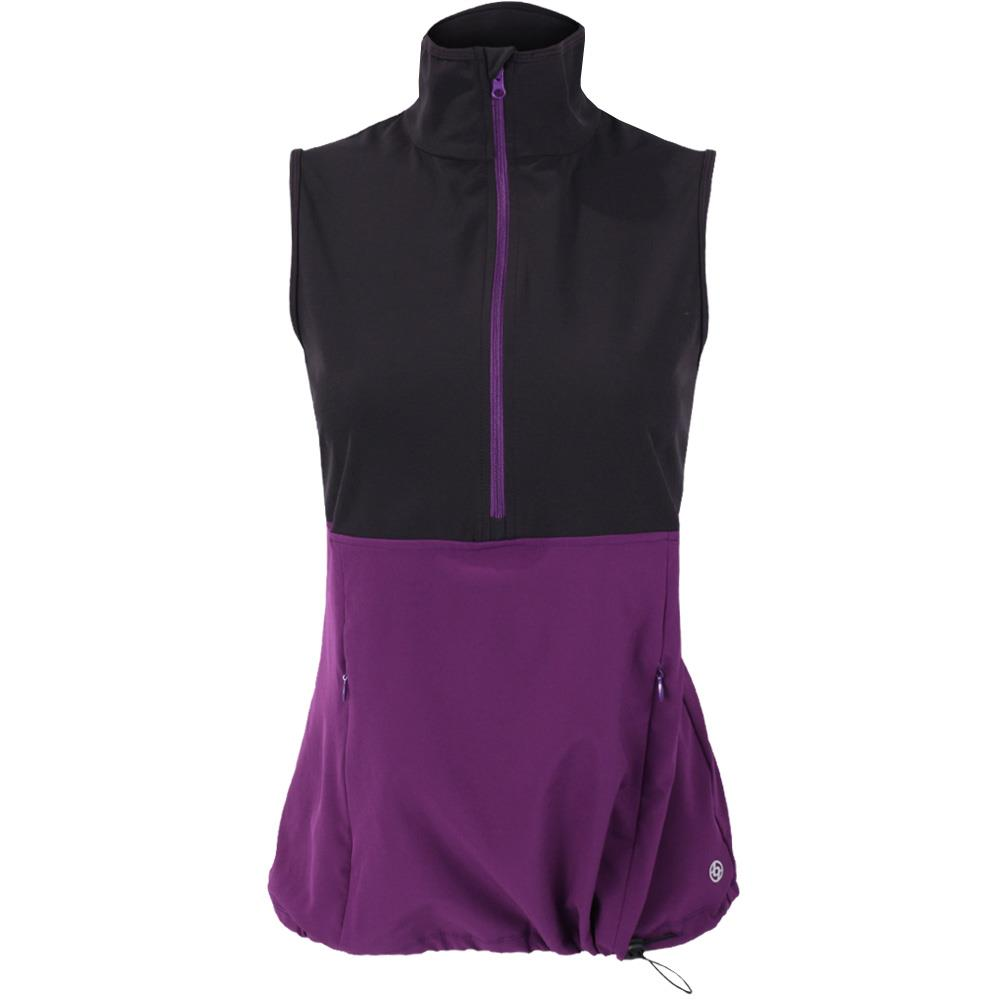 Lija Women's Fair and Square Split Vest - Black/Boysenberry