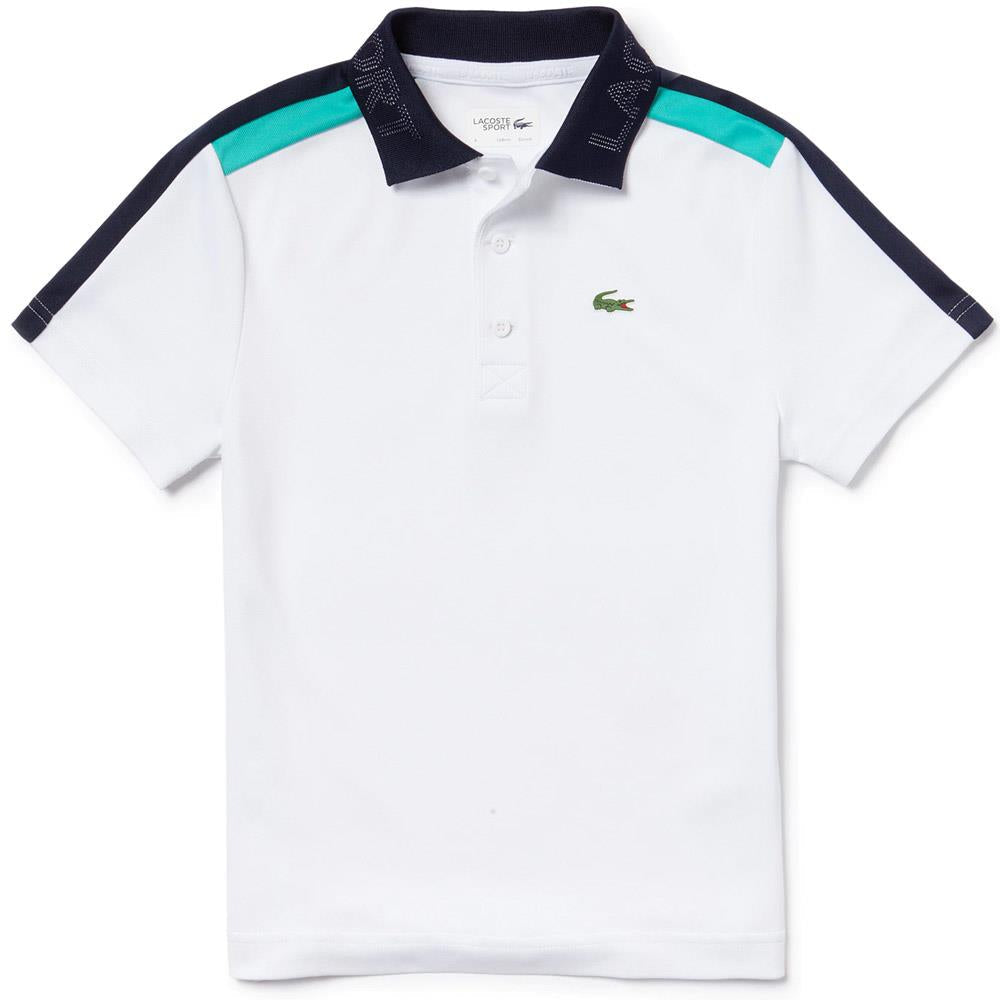 Lacoste Boys Sport Polo - White/Green/Navy