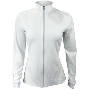 Sofibella Women's UV Staples Pleated Peplum Jacket - White