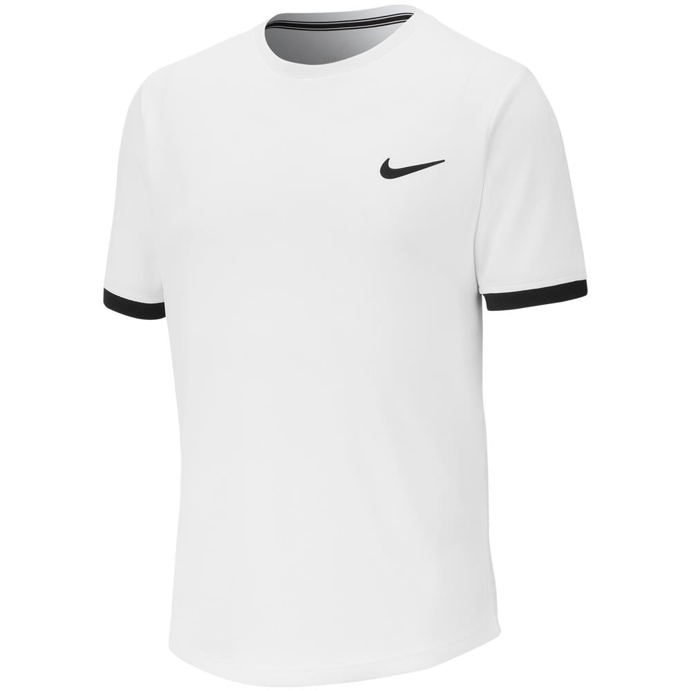Nike Boys Court DriFit Short Sleeve - White