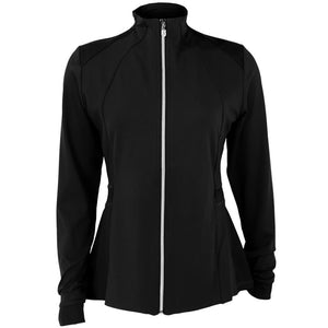 Sofibella Women's UV Staples Pleated Peplum Jacket - Black