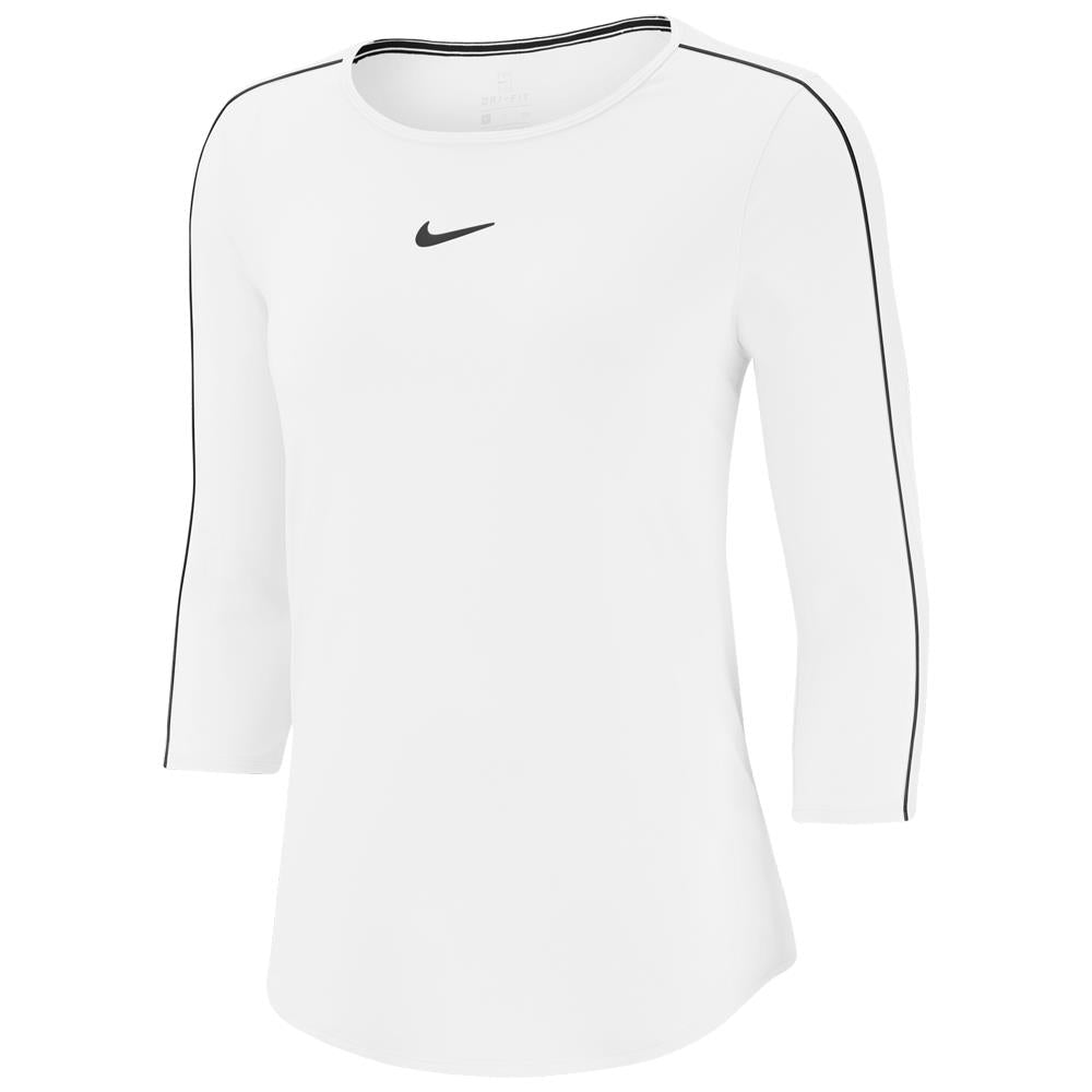 Nike Women's Court Dry 3/4 Sleeve Top - White