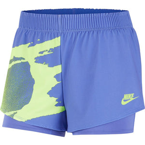 Nike Women's NY Slam Short - Sapphire/Hot Lime