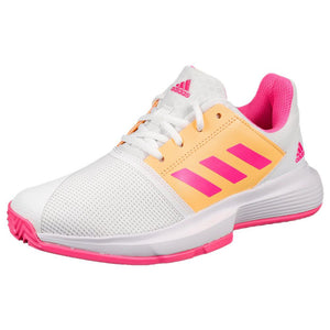 adidas Junior CourtJam X - Cloud White/Screaming Pink