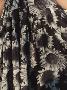 Caroline Black & White Sunflower - Cotton Voile