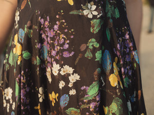 Lara Black Vintage Flower - Silk