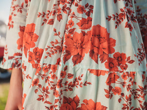Cora Sky Blue Red Flower - Cotton Voile