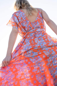 Alessandra Orange and blue bricks - Chiffon