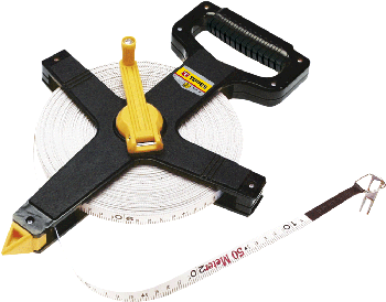 Measuring tape, fibre glass  50m, additional hook