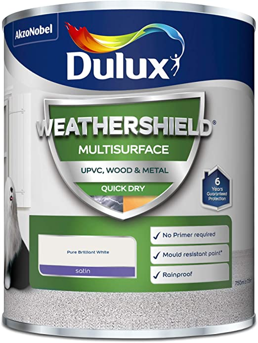 Dulux Weathershield Quick Dry Multi Surface Satin Pure Brilliant White